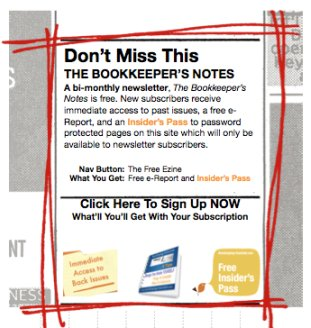 Sign up for the free newsletter about good bookkeeping practices.