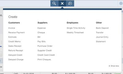 QuickBooks Online Quick Create Menu Options