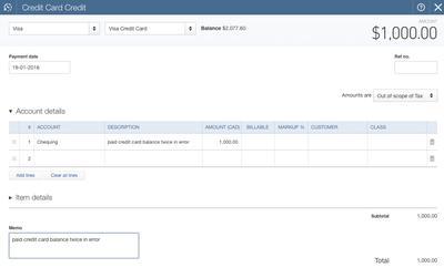 QuickBooks Online Credit Card CREDIT Form