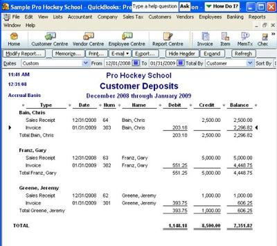 Create A Customized Report To Track Customer Deposits