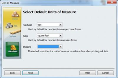 Select Default Units of Measure