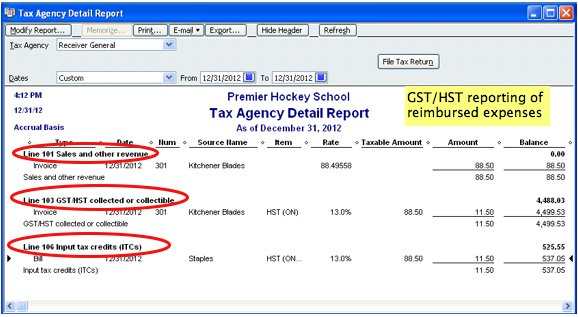 screenshot of QuickBooks GST HST reporting of reimbursable expenses