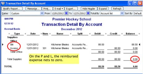 screenshot of QuickBooks profit and loss reporting of reimbursable expenses