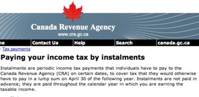 CRA website information on paying tax instalments
