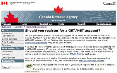 Take CRA's Questionnaire - Should you register for a GST/HST account?