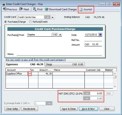 3. Input your purchase data into the QuickBooks form.