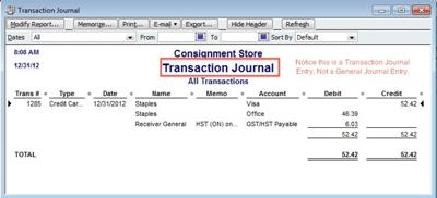 4. Check the journal entry booked by the QuickBooks software.