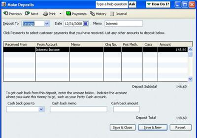 Make Deposit window found in the Banking drop down menu