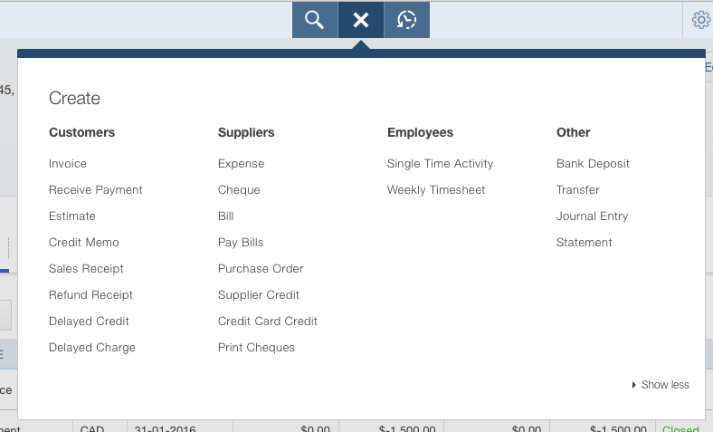 QBO Quick Create Menu