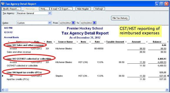 screenshot of QuickBooks GST HST reporting of reimbursable expenses