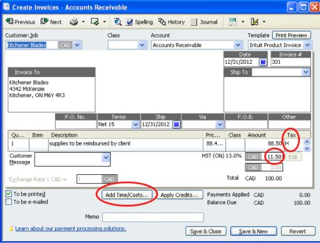 screenshot of QuickBooks client invoice with reimbursable expenses