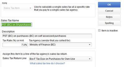 Picture 1 PSA Tax Item Setup